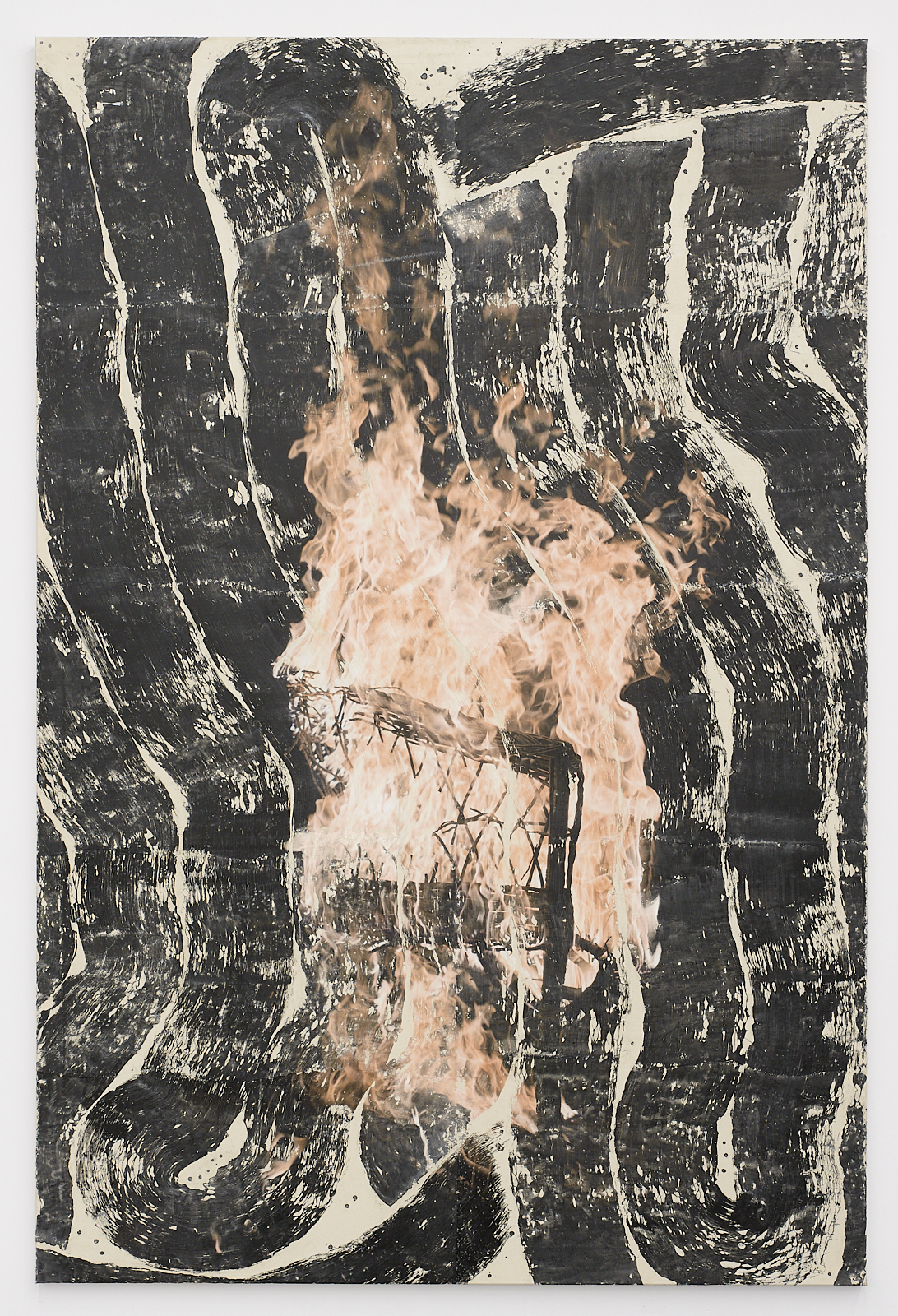 Tatjana Danneberg Knowing when to leave 2020 ink-jet print, gesso, glue on canvas 300 × 200 cm