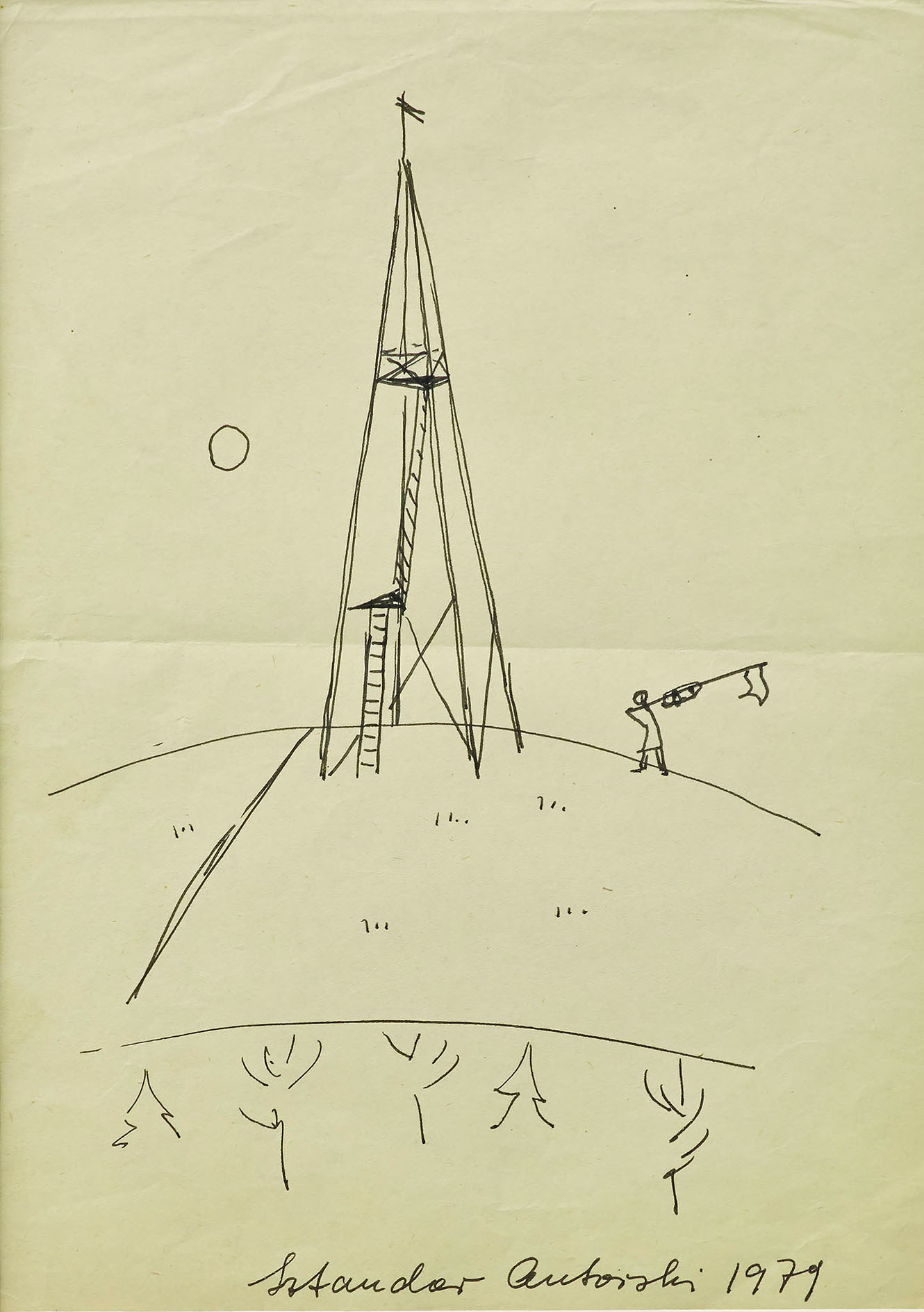 Maria Pinińska-Bereś 1979 Sketch to the performance Author'sFlag made on the Prokocim hills in Krakow pen on paper
